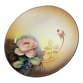 Noritake Japanese Hand Painted Porcelain Rose Dish For Sale