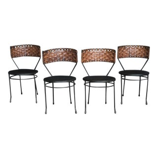 Mid Century Woven Leather & Iron Chairs by Arthur Umanoff – Set of Four
