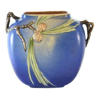 1930s Blue Roseville Pine Cone Vase