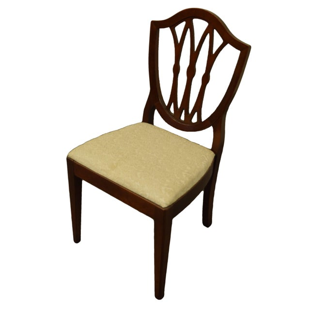 "1960's Antique Vintage Solid Cherry Duncan Phyfe Sheild Back Dining Side Chair 36.5"" High 19"" Wide 20.5"" Deep Seat: 18.5""..."