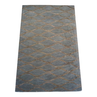 Slate Gray Wool Trellis Wave Rug- 5x8ft. For Sale