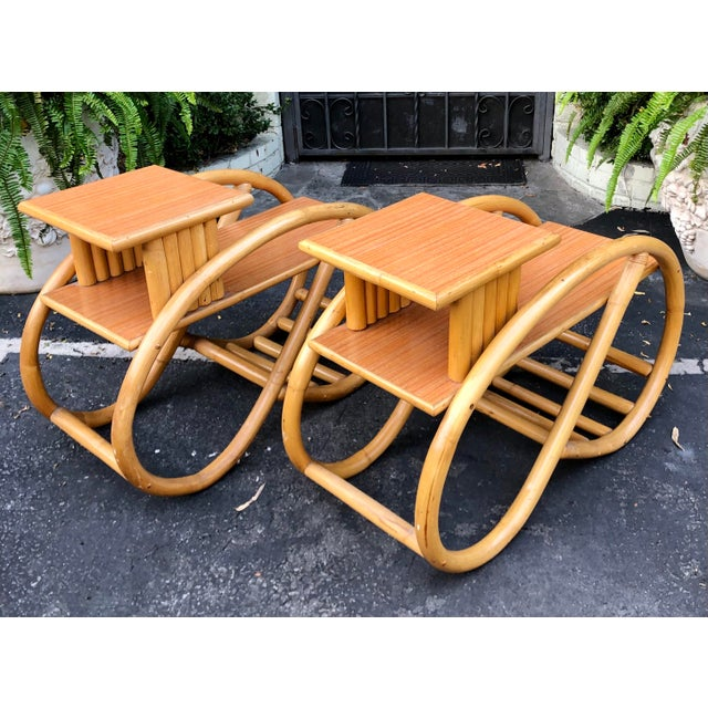 1950s 1950's Bent Rattan Bamboo Side Table Nightstands - a Pair For Sale - Image 5 of 6