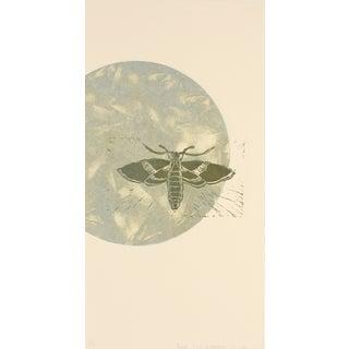 Moth & Moon Linoleum Block Print by R. Delamater For Sale