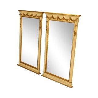 French Louis XVI Style Vintage Pair Gilt Trim Trumeau Mirrors For Sale
