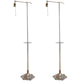 ART DECO PAIR OF WALTER KANTACK FLOOR OR BRIDGE LAMPS For Sale