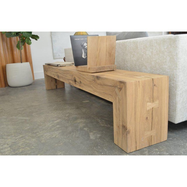 Not Yet Made - Made To Order Ozshop Antique Oak Waterfall Leg Beam Bench For Sale - Image 5 of 5