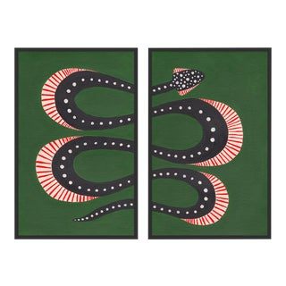 Zucchini the Snake Diptych by Willa Heart in Black Framed Paper, Small Art Print For Sale