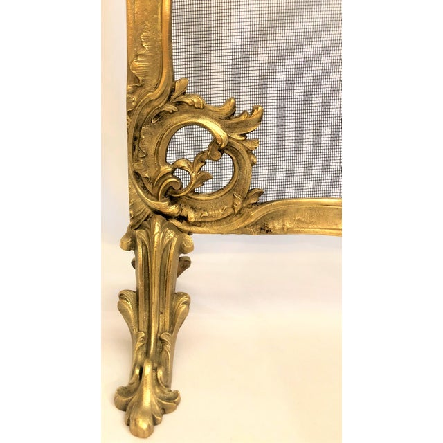 French Antique French Late 19th Century Louis XV Bronze Firescreen. For Sale - Image 3 of 4