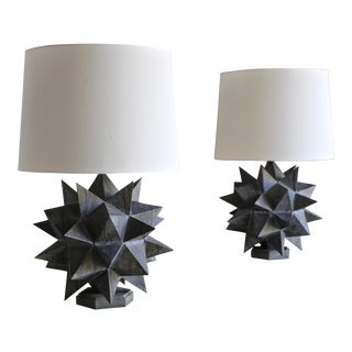Sculptural Metal Table Lamps, Circa 1965 - a Pair For Sale
