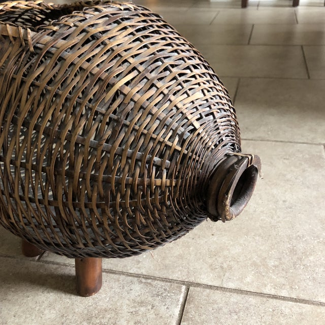 Mario Lopez Torres Mid Century Bamboo and Wicker Pig Basket For Sale - Image 4 of 13