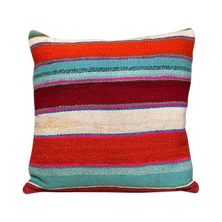 Kim Salmela Boho Chic Striped Peruvian Square Kilim Pillow For Sale