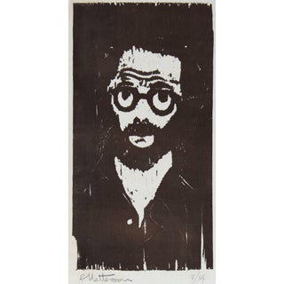 Rip Matteson Portrait With Glasses Woodcut Print, Circa 1970s For Sale
