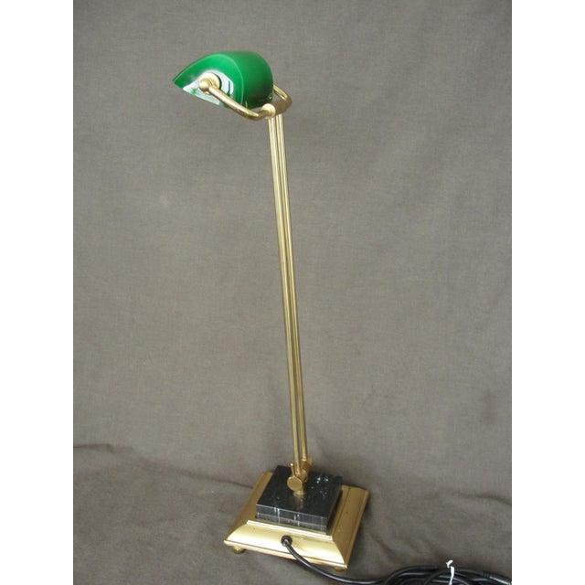 Tall Brass & Green Banker's Desk Lamp - Image 3 of 7