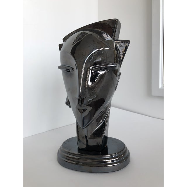 "20th Century Abstract Porcelain Art Deco ""Myng"" Head Sculpture Bust - Image 4 of 7"