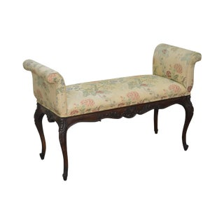 1940s French Louis XV Style Carved Mahogany Window Bench For Sale