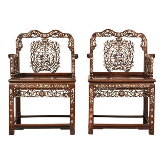 19th C. Pair of Mother-Of-Pearl Inlay Chairs For Sale