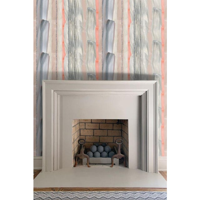 Contemporary Peach Marble Stripe Wallpaper For Sale - Image 3 of 10