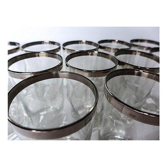 Mid-Century Modern Mid-Century Modern Silver Rim Glassware - 11 For Sale - Image 3 of 6