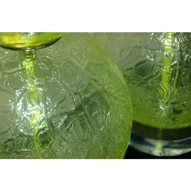 Vintage Murano Glass Ball Table Lamps Lime Green For Sale In Little Rock - Image 6 of 10