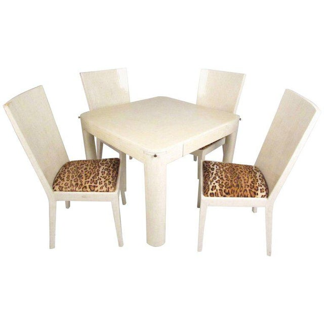 Enrique Garcel Tessellated Bone Card Table With Chairs For Sale - Image 11 of 11