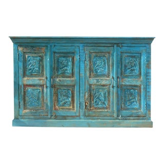 Rustic Blue Hand Carved Distressed Buffet For Sale