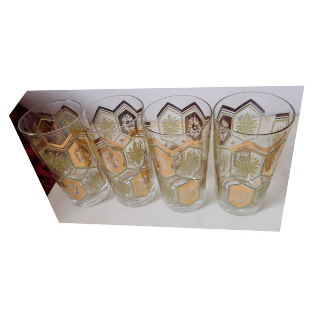 1960s Vintage Gold Green Ice Bucket With Glasses - Set of 13 For Sale - Image 5 of 12