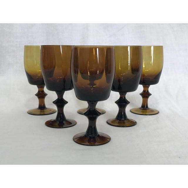 1960s Amber Stem Glasses - Set of 6 - Image 2 of 8