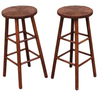 Rustic Handmade Bar Stools - a Pair For Sale
