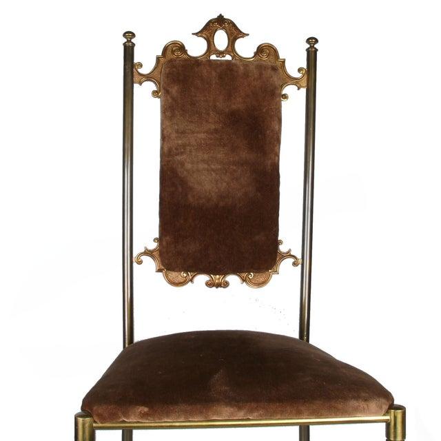 Vintage Brass & Brown Velvet Vanity Accent Chair - Image 7 of 7