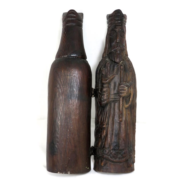 Mid Century Carved Wood Wine Bottle Case For Sale In Boston - Image 6 of 13