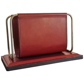 Stitched Bordeaux Leather Letter Rack by Longchamp, France, 1970s For Sale