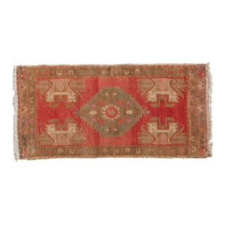 "Vintage Distressed Oushak Rug Mat - 1'5"" X 2'11"" For Sale"