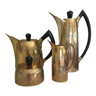1960s Danish Modern Hand Engraved Brass Tea & Coffee Set - 4 Pieces For Sale
