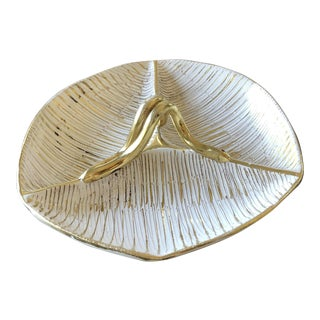 Mid-Century Modern Gold Hand Painted Italian Pottery Three Part Serving Dish For Sale