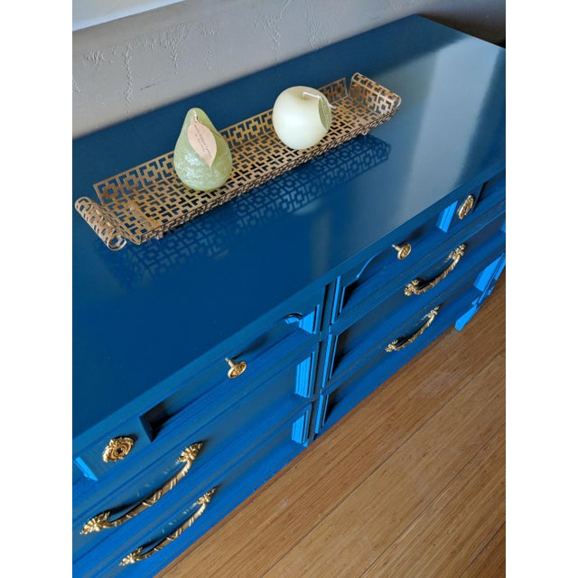 1960s Italian Basic Witz Blue High Gloss Six-Drawer Dresser and Nightstand Set - 2 Pieces For Sale - Image 11 of 12