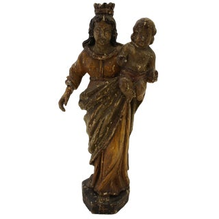 19th Century Antique Virgin De La Salvacion Sculpture For Sale