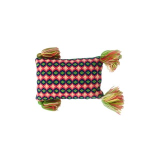 Boho Rectangular Needlepoint Pillow With Tassels For Sale