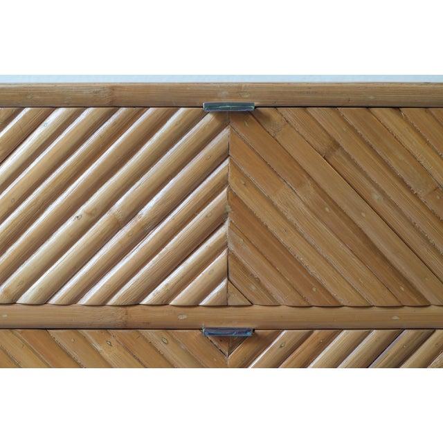 Milo Baughman Split Bamboo Rattan Nightstand Table For Sale - Image 5 of 7