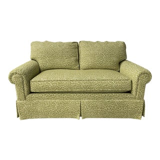 Charming Woven Celery-Colored, Leopard Patterned Down-Filled Loveseat For Sale