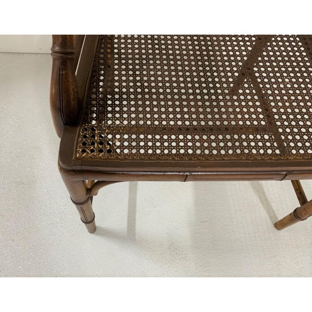 Brown Chinese Chippendale Style Faux Bamboo Arm Chair For Sale - Image 8 of 9