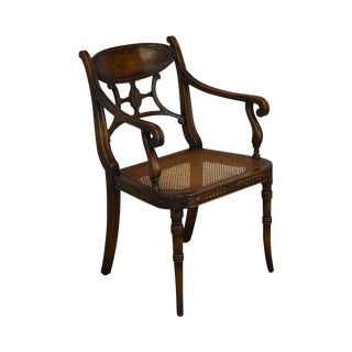 Theodore Alexander Regency Style Cane Seat Armchair For Sale
