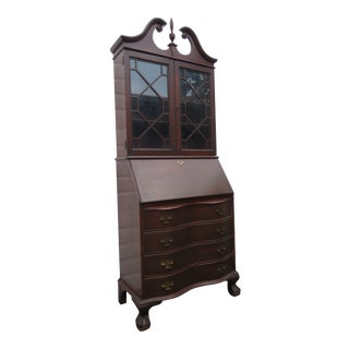 Mahogany Ball and Claw Feet Secretary Desk Cabinet Cupboard For Sale