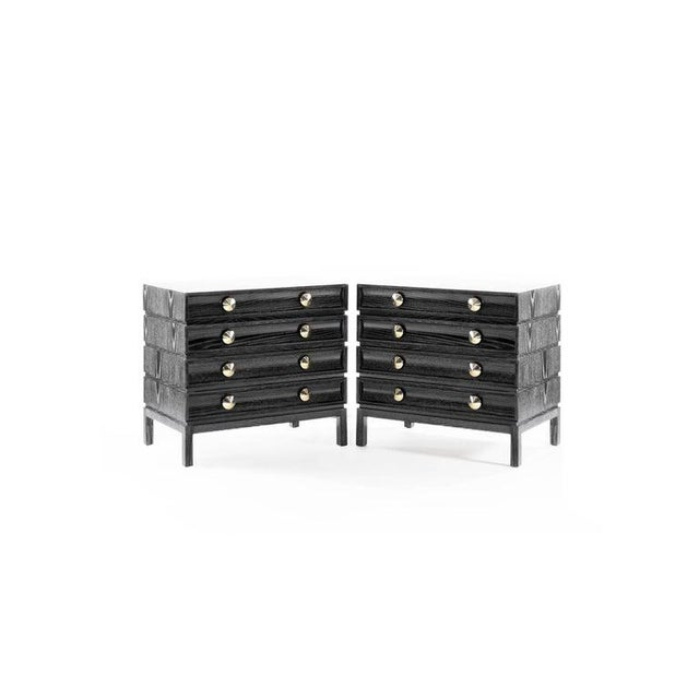 2020s Stamford Modern's Stacked Bedside Tables in Black Ceruse - a Pair For Sale - Image 5 of 11