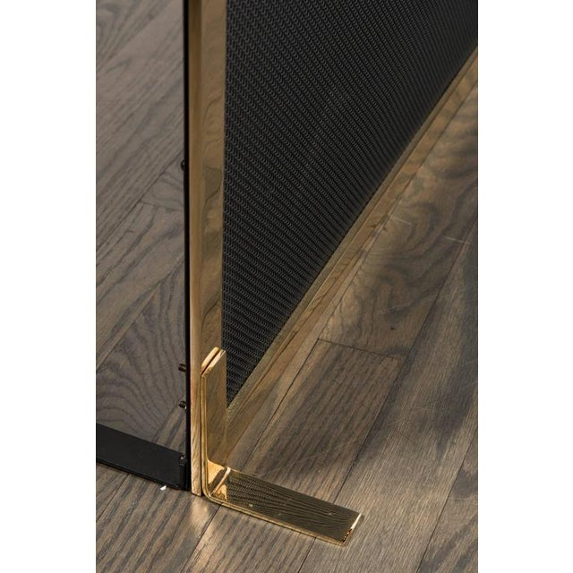Ultra Chic Custom Minimalist Fire Screen Polished and Lacquered Brass For Sale - Image 9 of 10