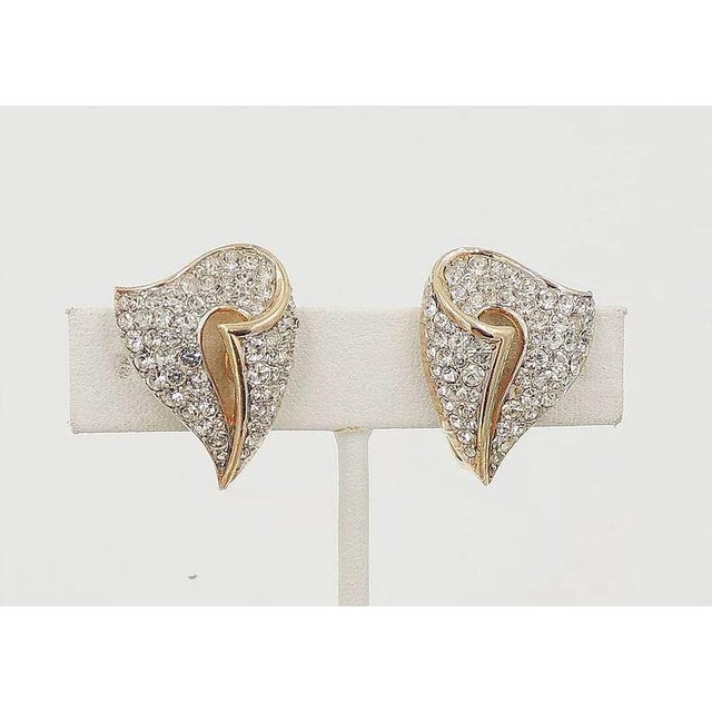 Mid-Century Modern 1960s Trifari Pavé Rhinestone Earrings For Sale - Image 3 of 5