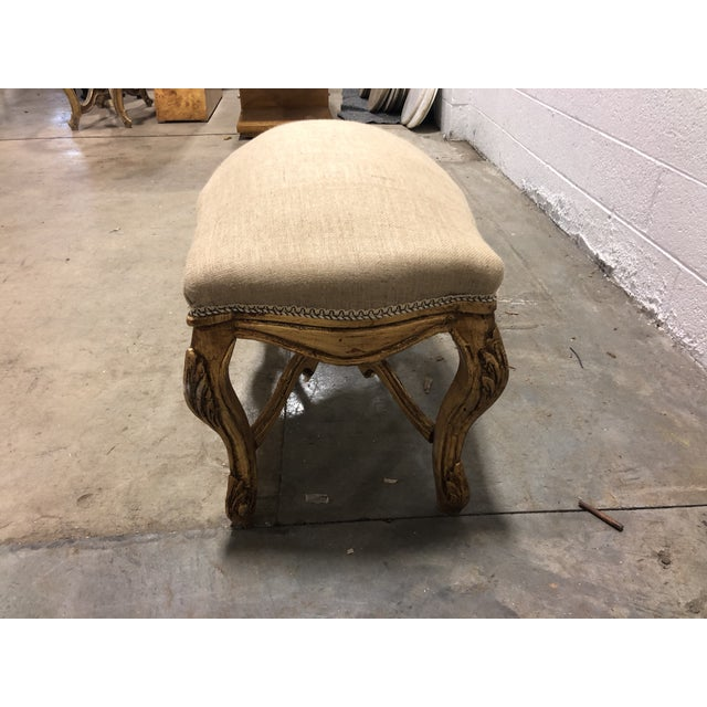 Country Vintage Louis XV Giltwood Curved Top Bench For Sale - Image 3 of 5
