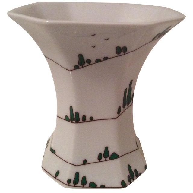 Vintage Arzberg Baumann Vase with Cypress For Sale