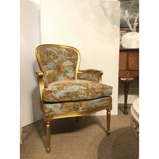 Mark Hampton for Hickory Chair Louis XV Gold Leaf Finished Chinoiserie Print Berger Chairs Pair Preview