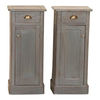 Antique Narrow Gray Painted Nightstands - a Pair For Sale