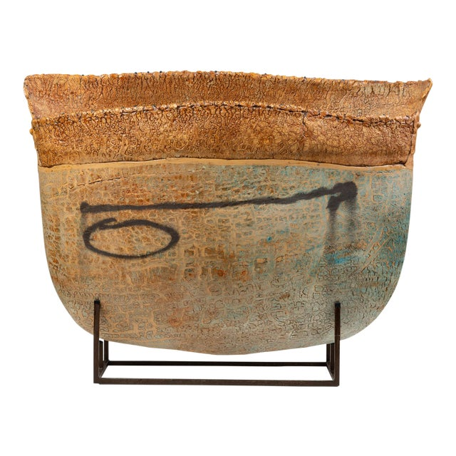 Ceramic Art Vessel With Mount by Jim Kraft For Sale